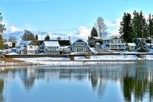 Home on Lake Tapps WA in winter